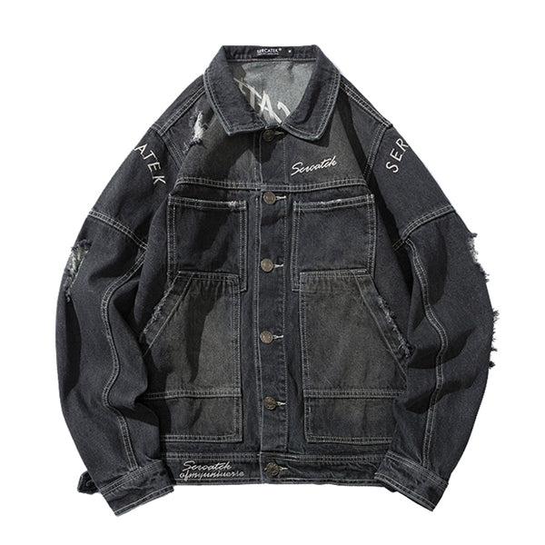 URBAN CITY MANSWAY TOOZ RIPPED DENIM JEAN COAT