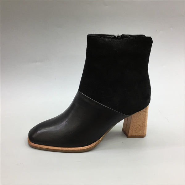 BOOPDO DESIGN BLOCK HEELED ANKLE BOOTS WITH SIDE ZIP