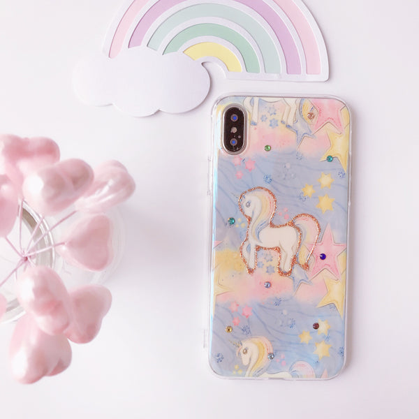 UNICORN MIDDLE HORSES CARTOON PRINT APPLE IPHONE CASES - boopdo
