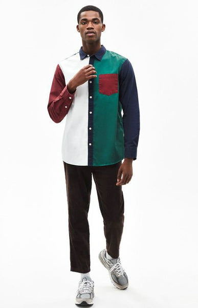 BOOPDO DESIGN RETRO WASHED OLD COLOR BLOCK LONG SLEEVE SHIRT IN MULTI COLOR