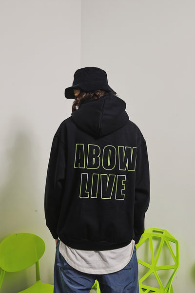 MASK FACE PRINT MADE BY ABOW LIFE BLACK HOODIE PULLOVER SWEATSHIRT