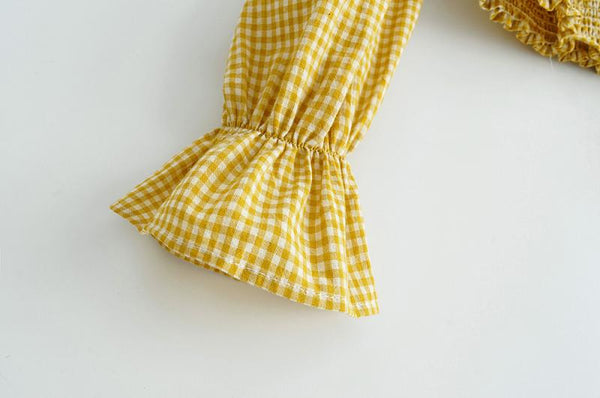 BOOPEXLIA SPANISH STYLE PLAID SQUARE COLLAR BLOUSE SHIRT IN YELLOW - boopdo