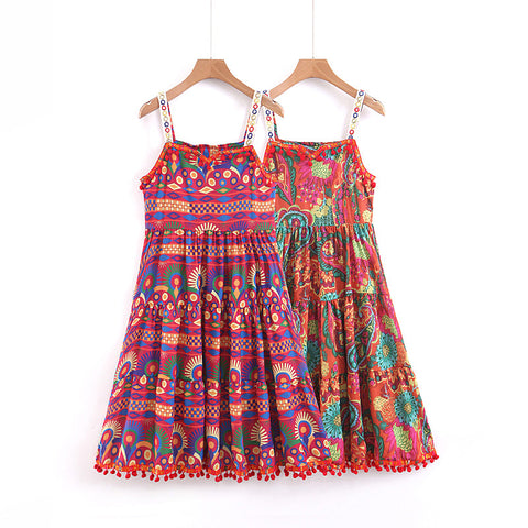 BOHEMIAN ZULUCA SUMMER DRESS WITH STRAPS IN MULTI COLOR