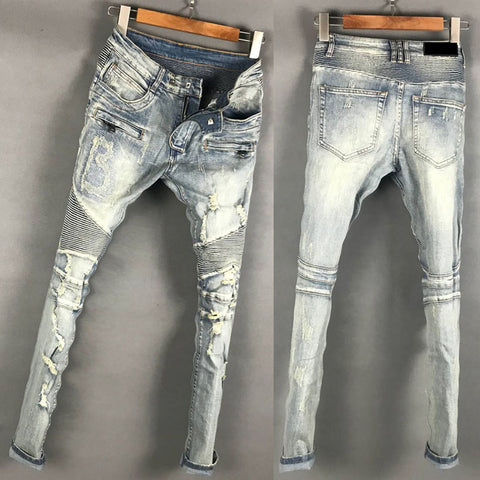 BLM EUROPTICA LUXURY DESIGN RIPPED WASHED DENIM JEAN PANTS IN BLUE