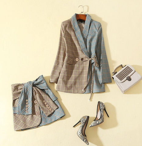 BBL DESIGN CO ORD SELF BELT BLAZER AND MATCHING SKIRT IN CHECK