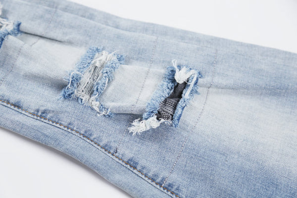 MALILOZ BOOPDO DESIGN FLANNEL RIPPED WASHED DENIM JEAN PANTS IN ICE BLUE