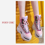 FOXY CHIC JENNIFER MARROTA STYLE CHUNKY PLATFORM LEATHER SNEAKER BOOTS - boopdo