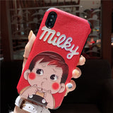 JAPANESE CARTOON MILKY APPLE IPHONE RED PROTECTIVE CASE