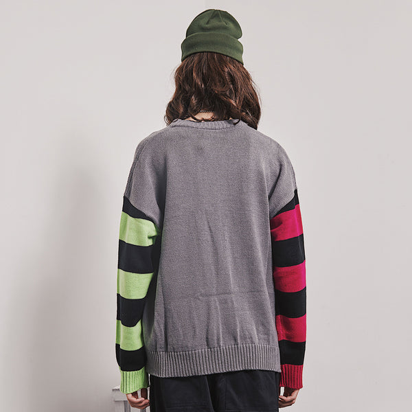 SHOW RICH DESIGNED BY ABOW LIFE CREW NECK SWEATER IN MULTI COLOR - boopdo