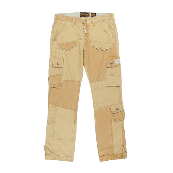 REBELLIOW KARAOKE DENIM STYLE CARGO PANTS IN KHAKI