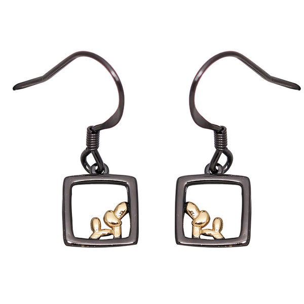 SILVER OF LIFE 925 PULL TROUGH EARRINGS WITH RECTANGULAR DROP