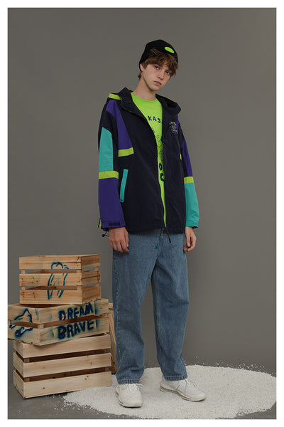 TYAKASHI UNISEX WINDBREAKER JACKET WITH LETTERS AND COLOR BLOCKING