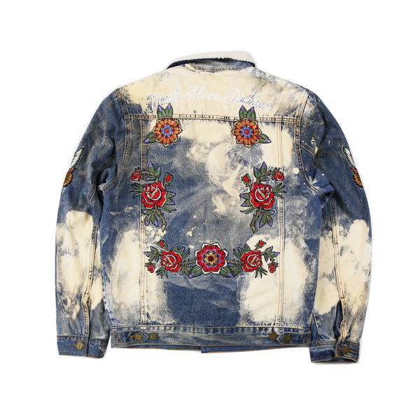 DENILOX KERRY SABAGE WASHED DENIM JACKET WITH ROSE PRINT - boopdo