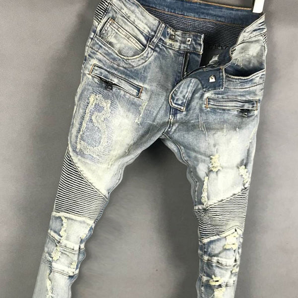 BLM EUROPTICA LUXURY DESIGN RIPPED WASHED DENIM JEAN PANTS IN BLUE - boopdo
