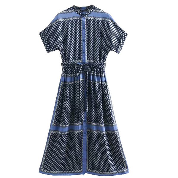 URBANWEAR MOGLI UNION MIDI SHIRT DRESS IN BLUE