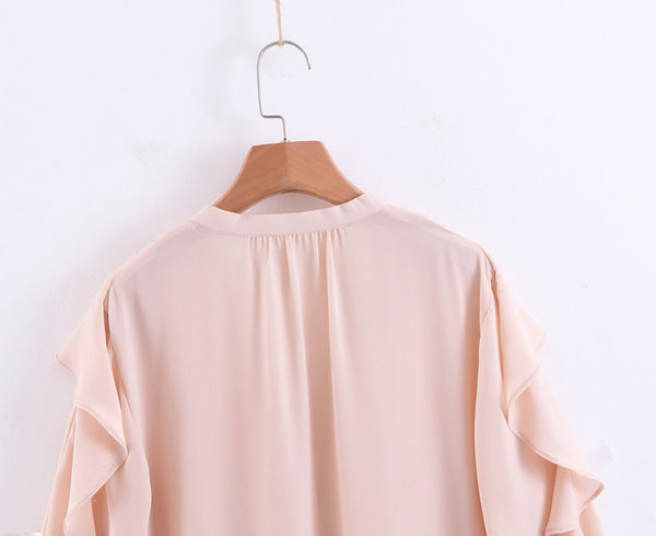 BOOPDO DESIGN V NECK OCEAN WHITENING RUFFLED SHIRT IN PINK - boopdo