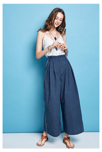 ARTKA WIDE LEG CROPPED STRIPE PANTS - boopdo