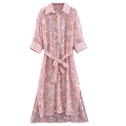 BOOPDO DESIGN POLO COLLAR EMBROIDERY LONG DRESS IN  POWDER PINK