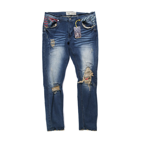 BOOPDO DESIGN RETRO WASHED DENIM JEAN PANTS IN NAVY - boopdo