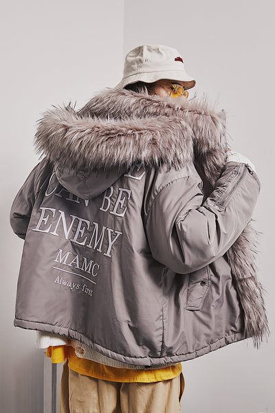NO ONE CAN BE ENEMY MAMC FAUX FUR COLLAR HOODIE PILOT JACKET