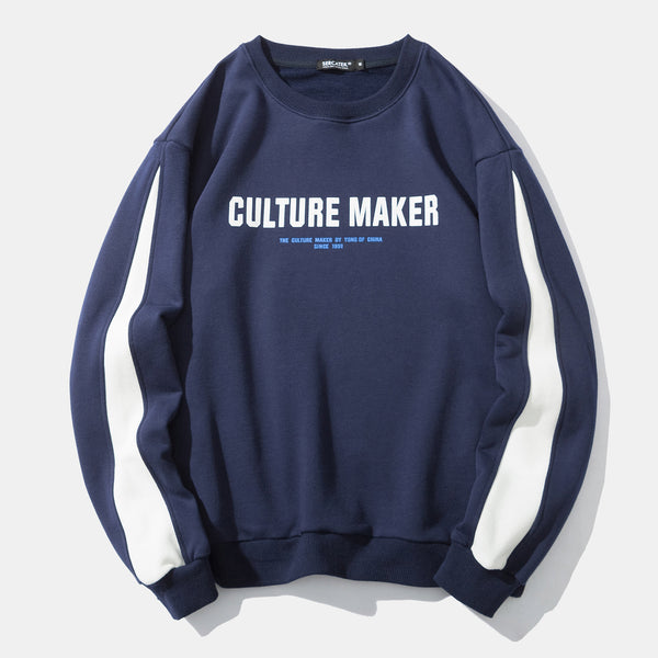 Urban City Irregular Striped Culture Maker Chinese Print Crew Neck Sweatshirt
