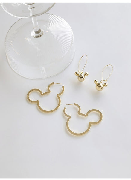 UZL PULL THROUGH EARRINGS IN MICKEY MOUSE DESIGN IN GOLD PLATE - boopdo