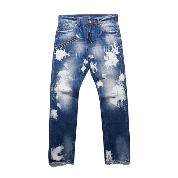 OLD SCHOOL RETRO STYLE RIPPED DENIM JEAN PANTS - boopdo