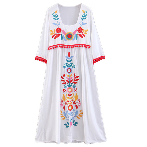 BOHEMIAN HIPSTER FLOWER EMBROIDERED VACATION DRESS
