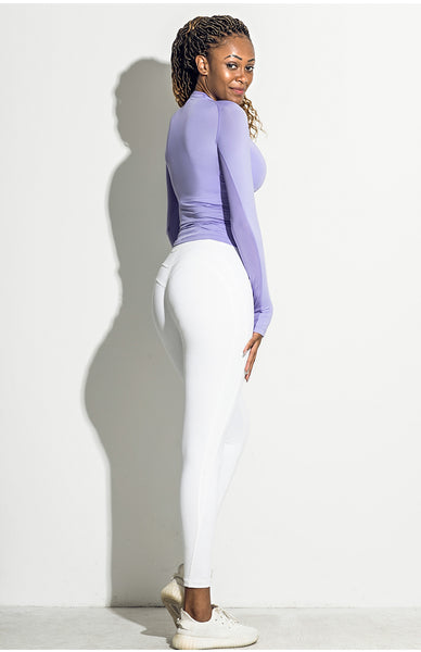 ELITE ABS STRETCH LONG SLEEVE SPORTS TOP IN LAVENDER V18415