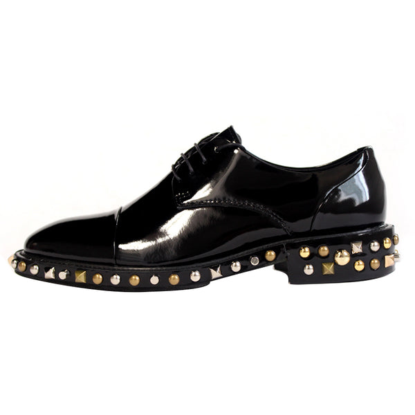 JINIWU VANGUARD HANDMADE PLAIN PURE LEATHER SHOES IN BLACK WITH RIVET - boopdo