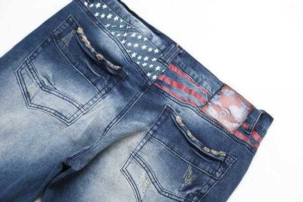 BOOPDO DESIGN RETRO WASHED DENIM JEAN PANTS IN NAVY