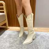 JESSIA COBBLER URBAN STYLE WESTERN KNEE HIGH COWGIRL BOOTS - boopdo