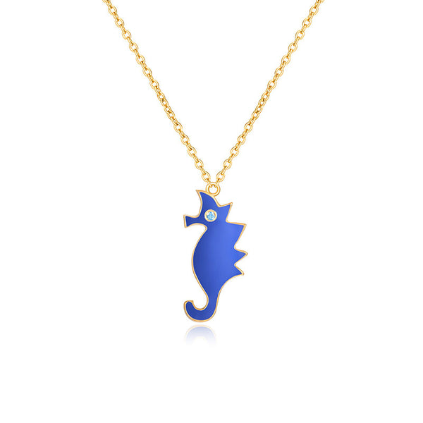 LITTLE JOYS 18K GOLD SEAHORSE PEDANT NECKLACE - boopdo