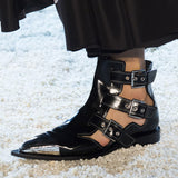 THE KNIGHT BOOPDO DESIGN CATWALK CASUAL LEATHER BUCKLE SANDALS WITH RIVET