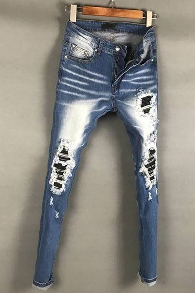 BOOPDO DESIGN RIPPED PATCHWORK WASHED DENIM JEAN PANTS IN ICE BLUE - boopdo