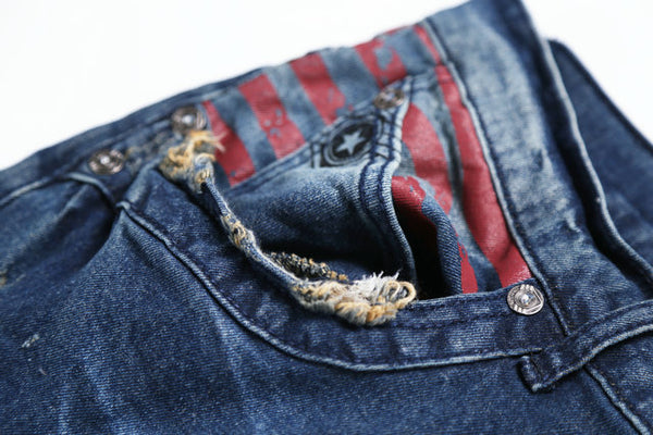 TOLUPXIA AIR FORCE RETRO STONE WASHED DENIM JEAN PANTS IN NAVY - boopdo