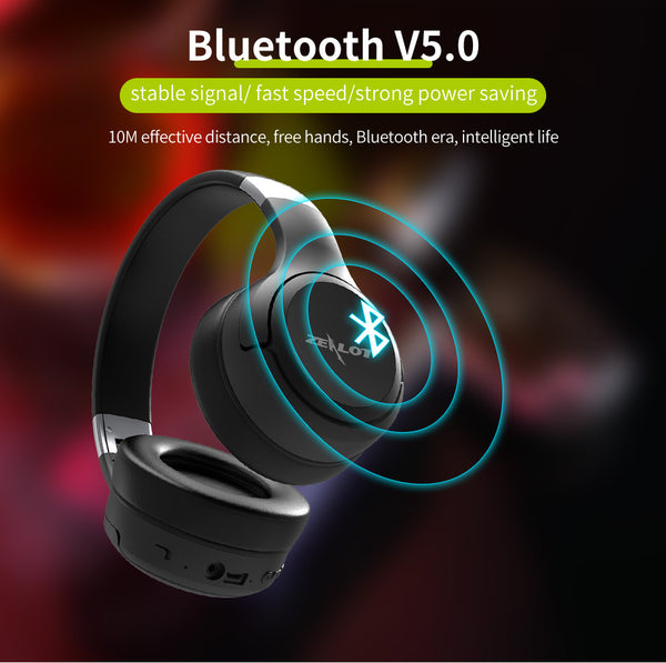 ZEALOT BASS LCD DISPLAY BLUETOOTH WIRELESS FOLDABLE HEADPHONE - boopdo