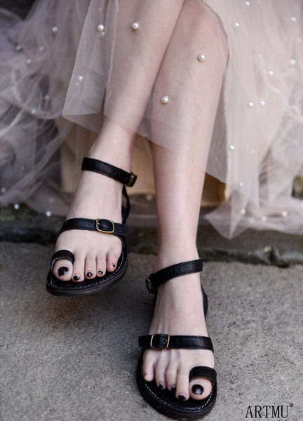 ARTMU LEATHER FLAT BUCKLE SANDALS