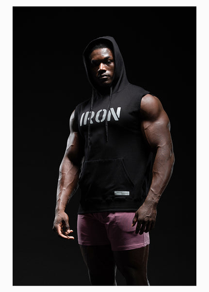 IRON LIFE WORK HARD SPORTSWEAR HOODED TANK TOP T SHIRTS - boopdo