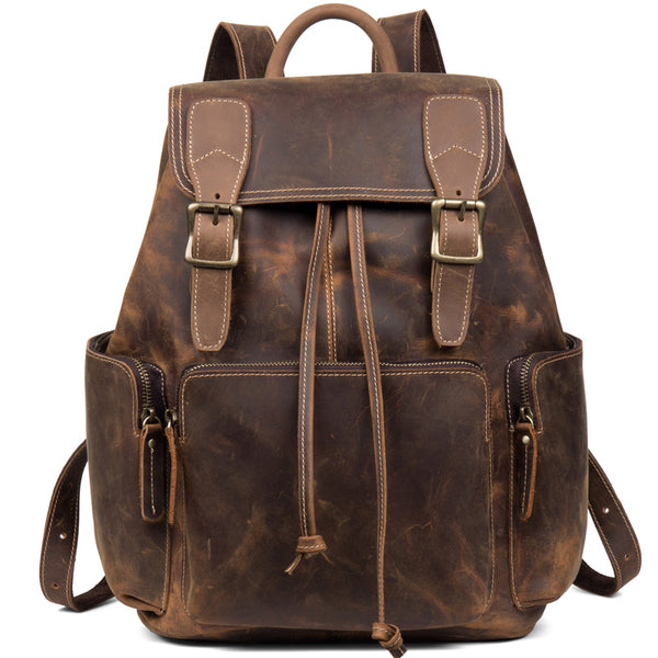 MANTIME OUTDOOR TRAVEL RETRO LEATHER BACKPACK IN BROWN - boopdo