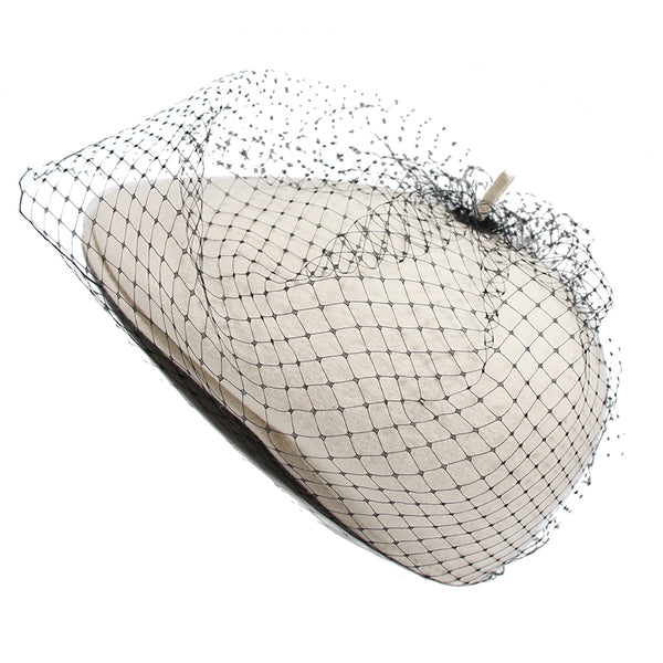 MQUEEN WHITE WOOL BERET WITH BLACK MESH DETAIL 18LLDM1246 - boopdo