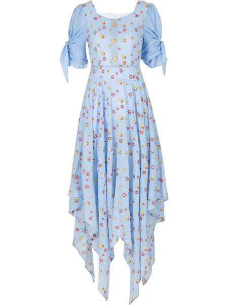 SINCE THEN SQUARE NECK MAXI DRESS IN BLUE DITSY FLORAL PRINT
