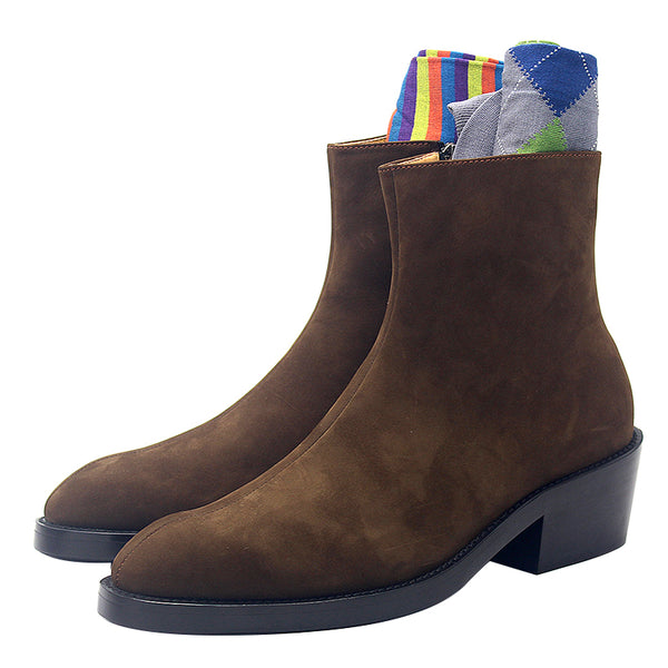 JINIWU VANGUARD FROSTED SUEDE CHELSEA LEATHER BOOTS IN COFFEE - boopdo