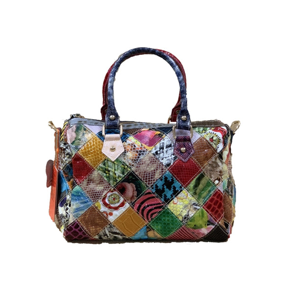 CAERLIF BOOPDO HANDMADE SNAKE LEATHER  WOMEN BAG IN MULTI COLOR