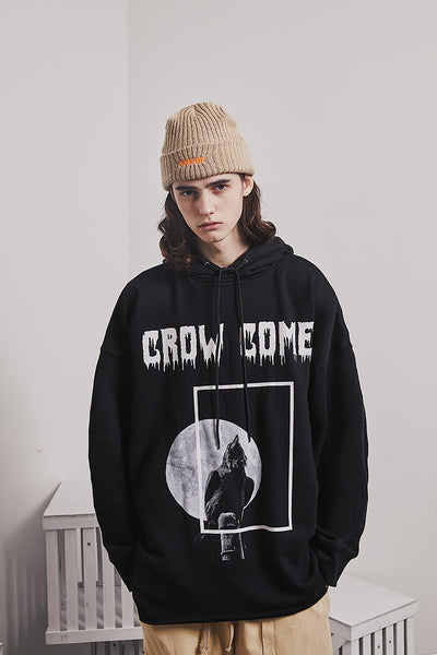 CROW COME PRINT ABOW LIFE STYLE HOODIE PULLOVER IN BLACK - boopdo