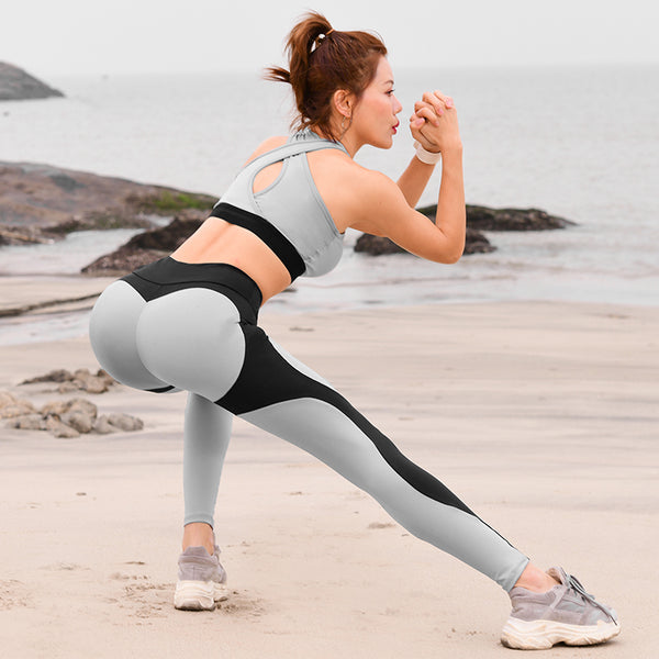MIP GYM LEGGINGS WITH CONTRAST PANELS IN BLACK AND GREY