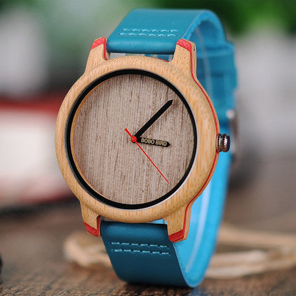BOBO BIRD BAMBOO ATMOSPHERE QUARTZ WATCH WITH LEATHER BAND