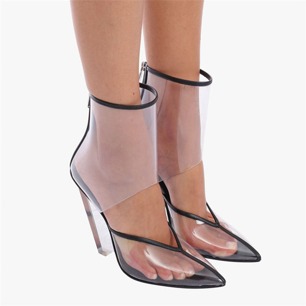 CORTICAL TRANSPARENT TPU CRYSTAL WEDGED HIGH HEEL SANDALS - boopdo