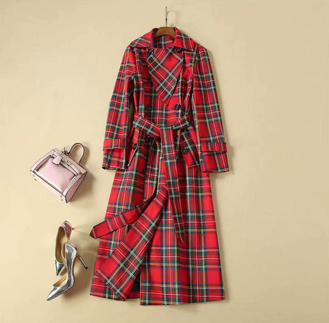 BBL DESIGN DOUBLE BREASTED BELTED COAT IN RED CHECK