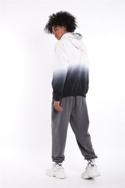 THE PLEXI TIE DYED HIPSTER PULLOVER HOODIE IN WHITE BLACK - boopdo